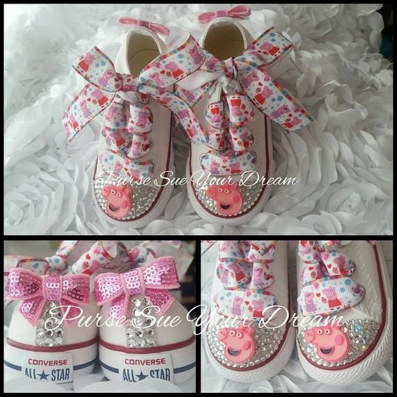 2628ba99caaf5 Peppa Pig Themed Converse Shoes - Peppa Pig Birthday - Custom ...