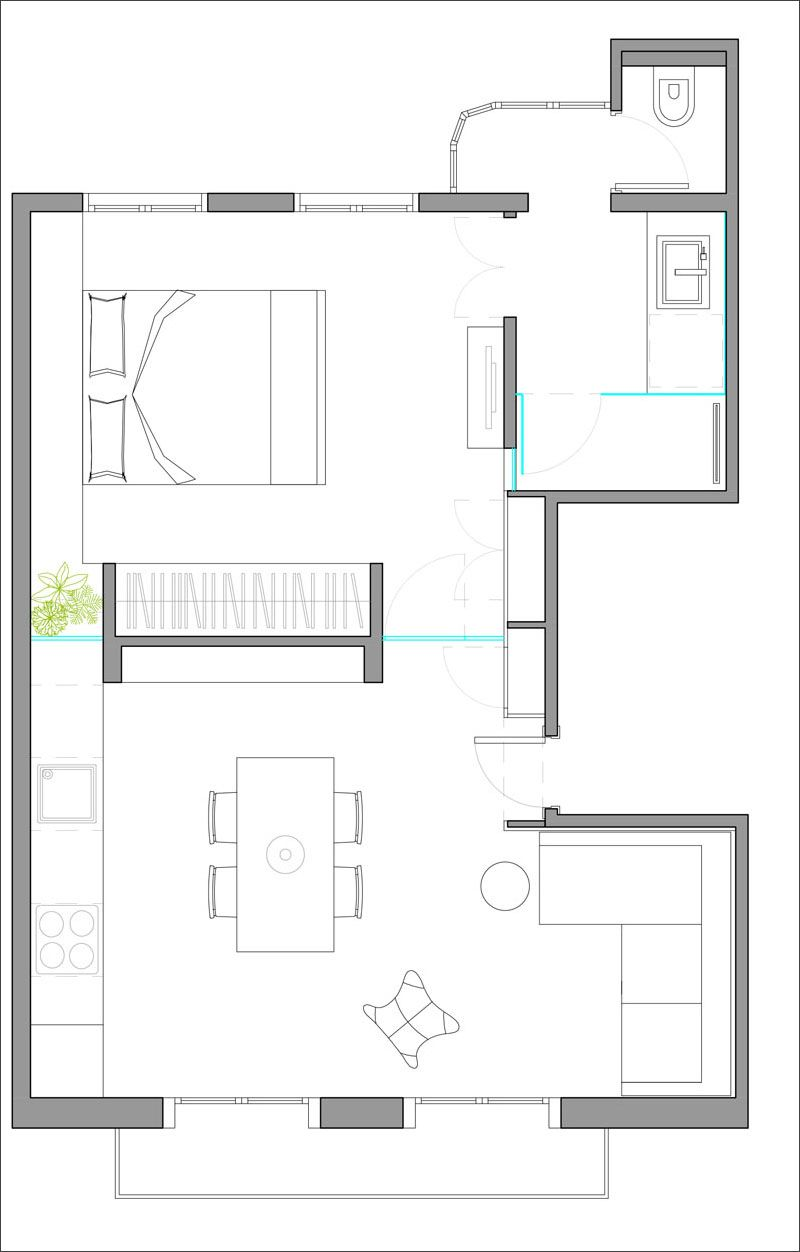 43m2 heres a look at the floor plan of how a small modern apartment is laid out and how the spaces are all connected