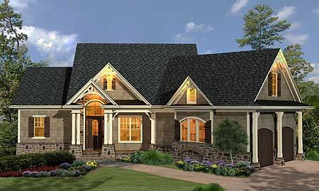 Plan 15883ge Craftsman Inspired Ranch Home Plan Rustic House Plans Ranch House Plans Craftsman House