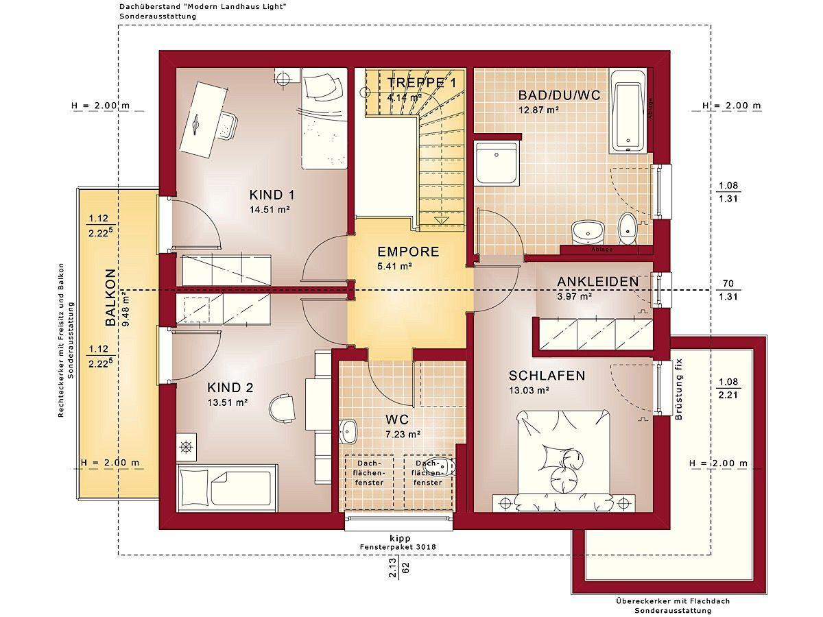 Fertighaus Grundriss Einfamilienhaus Obergeschoss modern mit