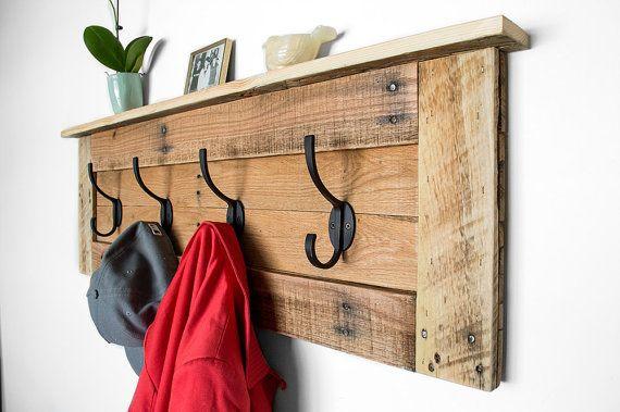 Coat Hooks Reclaimed Wood Coat Rack Entryway By Bydadanddaughter Diy Coat Rack Pallet Coat Racks Rustic Coat Rack