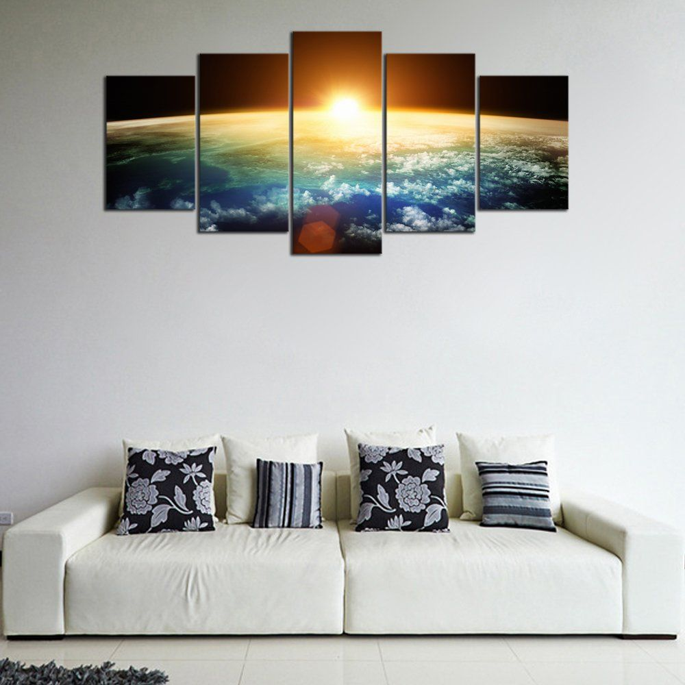 Pyradecor The Earth 5 Panels Extra Large Modern Landscape Artwork Giclee Canvas Prints Space Pictures Paintings On Ca Canvas Giclee Canvas Wall Art Wall Canvas