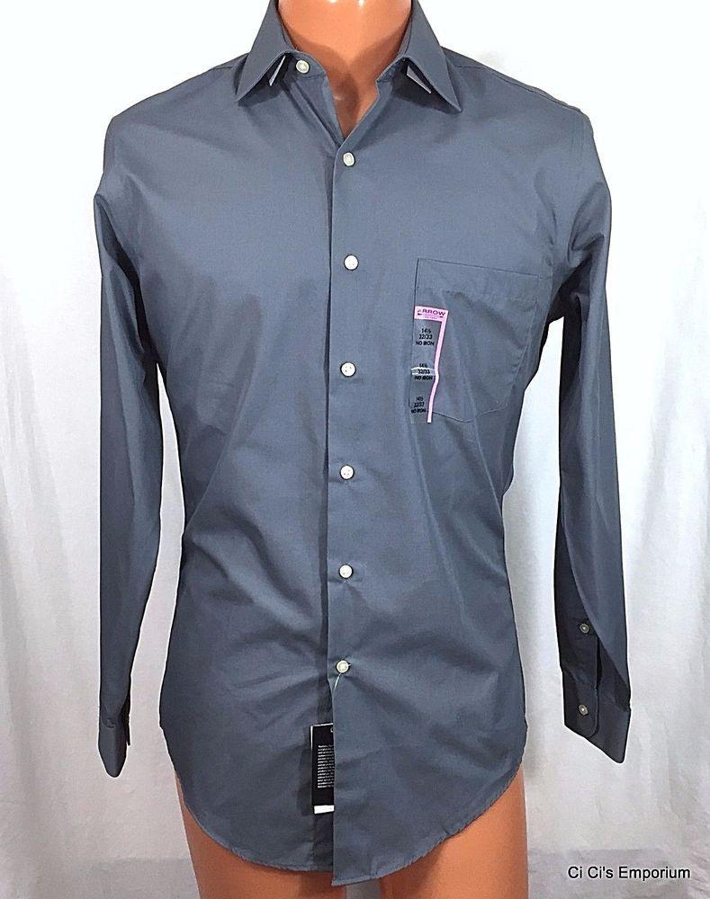 Arrow Mens 145 Fitted Dress Shirt Gray Ls 3233 Spread Collar No