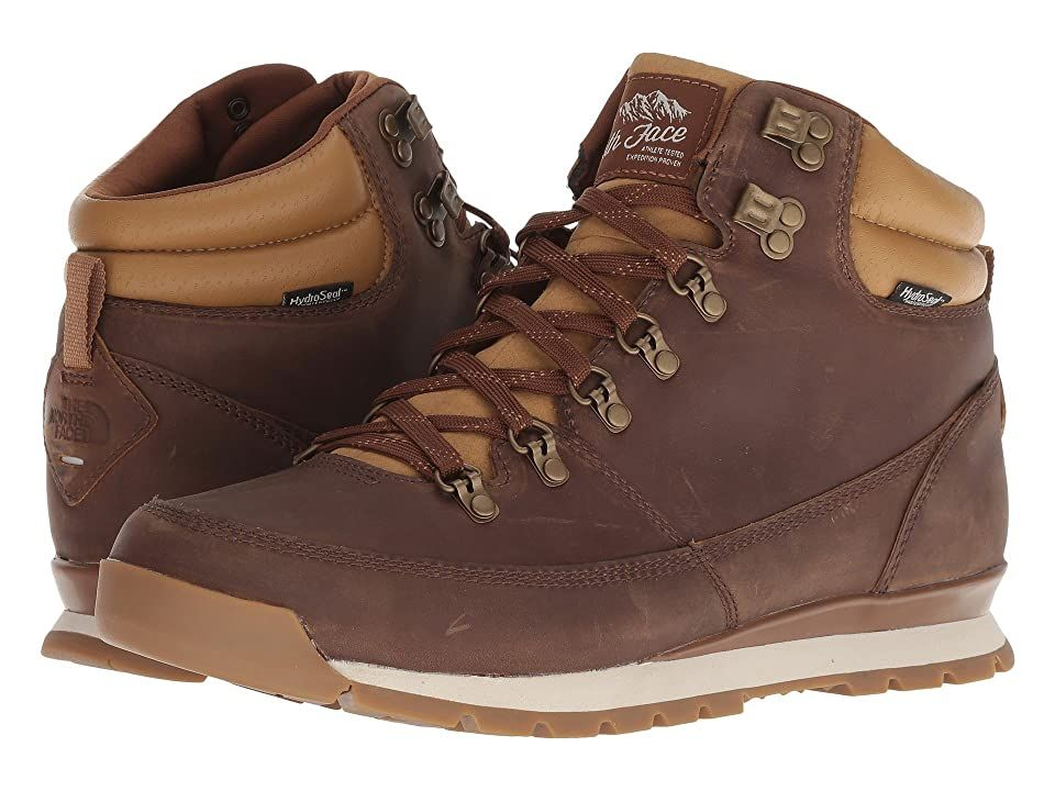 The North Face Back-To-Berkeley Redux Leather (Dijon Brown/Tagumi Brown) Men's Hiking Boots. Old school meets new school in the handsome The North Face Back-To-Berkeley Redux Leather boot. HydroSeal waterproof membrane protects feet from outside elements. Waterproof  BLC-compliant full grain leather uppers. Lace-up closure. OrthoLite ReBound footbed. Compression-molded EVA midsole. TNF WinterGrip rubber outsole with temper-sen #TheNorthFace #Shoes #Boot #Hiking #Brown