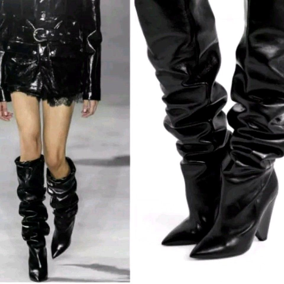 46eb6e3be6a New black PATENT OVER THE KNEE HIGH HEEL SPIKE SLOUCHY LOOK BOOTS ...