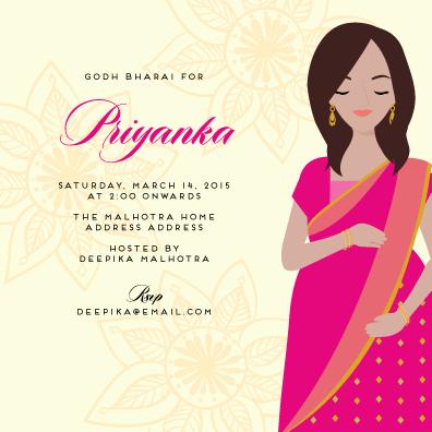 Abundance Of Joy  Custom Godh Bharai Invitations  Hens And Baby