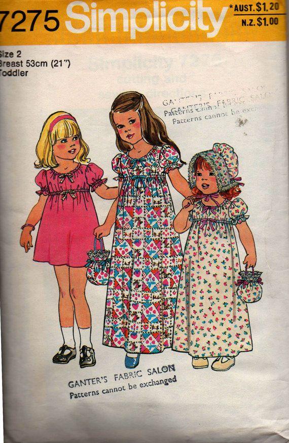 Simplicity 7275 Toddler Girls Maxi Dress Bonnet Bag Holly Hobbie ...