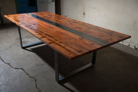 heart redwood dining conference table handmade steel legs
