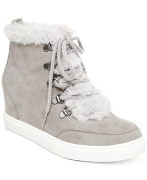 9de83eafd7 Madden Girl Pulley Faux-Fur Wedge Sneakers - Gray 8M