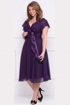 Robes demoiselle d'honneur grande taille violette bande