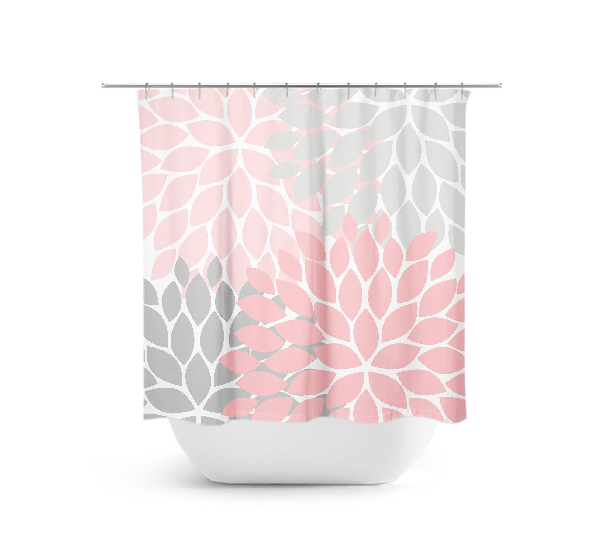 Pink And Gray Shower Curtain Floral Shower Curtain Shower
