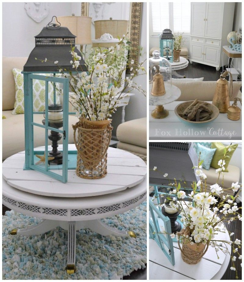 Add a pillar, candle and starfish to simply fill an over-sized lantern! Love this aqua beauty from @homegoods so fun for that beachy coastal cottage vibe. #makehomeyours #homegoodshappy