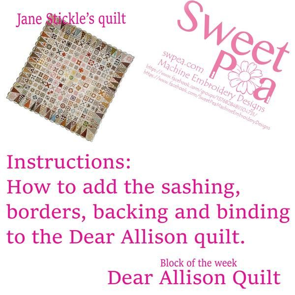 How To Add The Sashing, Borders And Binding To The Dear