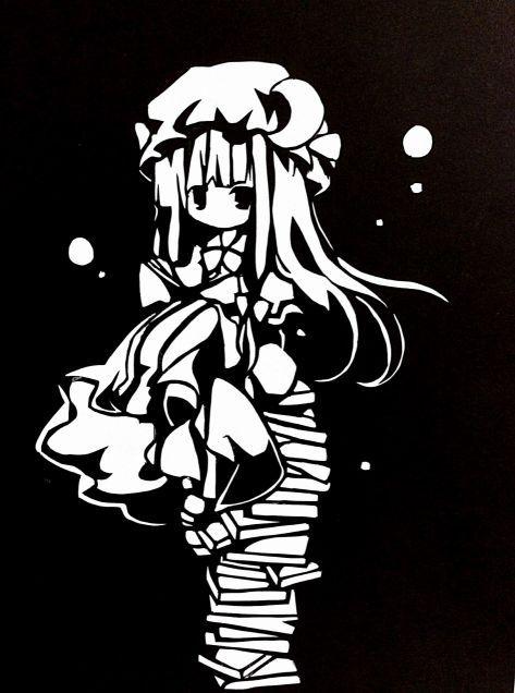 パチュリー ノーレッジ 切り絵 anime art cartoon