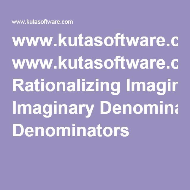 Www Kutasoftware Com Rationalizing Imaginary Denominators Unit 3