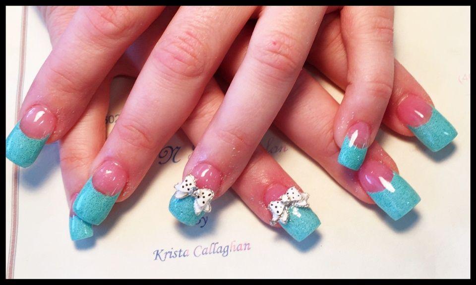 Magnífico Tiffany Uñas Franceses Azules Inspiración - Ideas Para ...