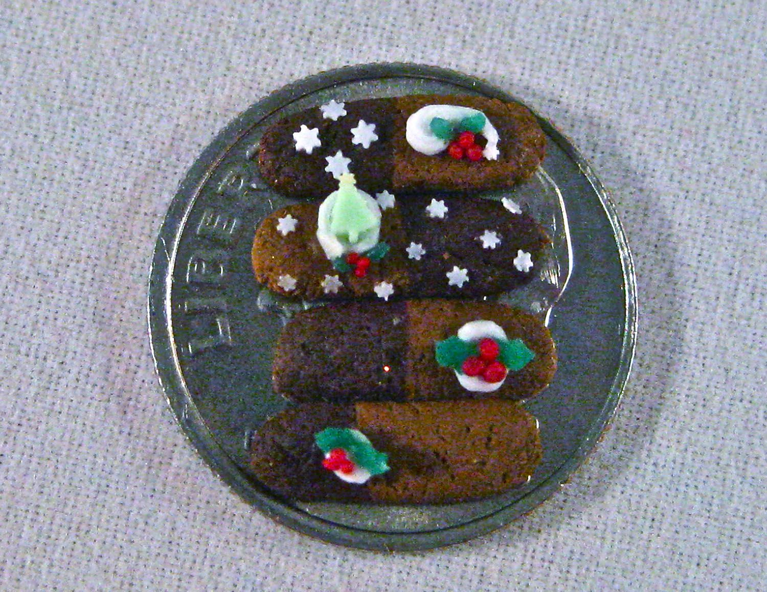 1:12 scale dollhouse miniature Christmas Cookies 100% polymer clay. Amber Dawn InventiveSoul on Instagram Amber Dawn Creations on FB