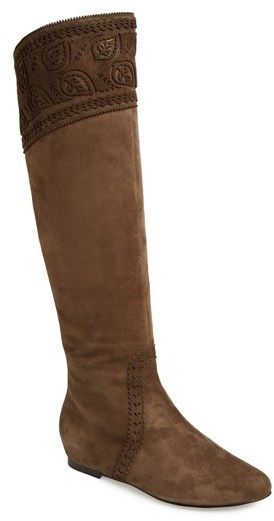 82c1e9766963d AERIN 'Danielle' Embroidered Suede Over the Knee Boot (Women) on shopstyle .com
