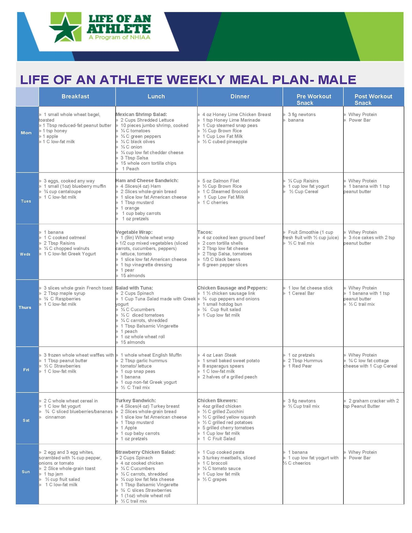 Loa Weekly Meal Plan For Male Athlete Week   Weekly Meal Plans