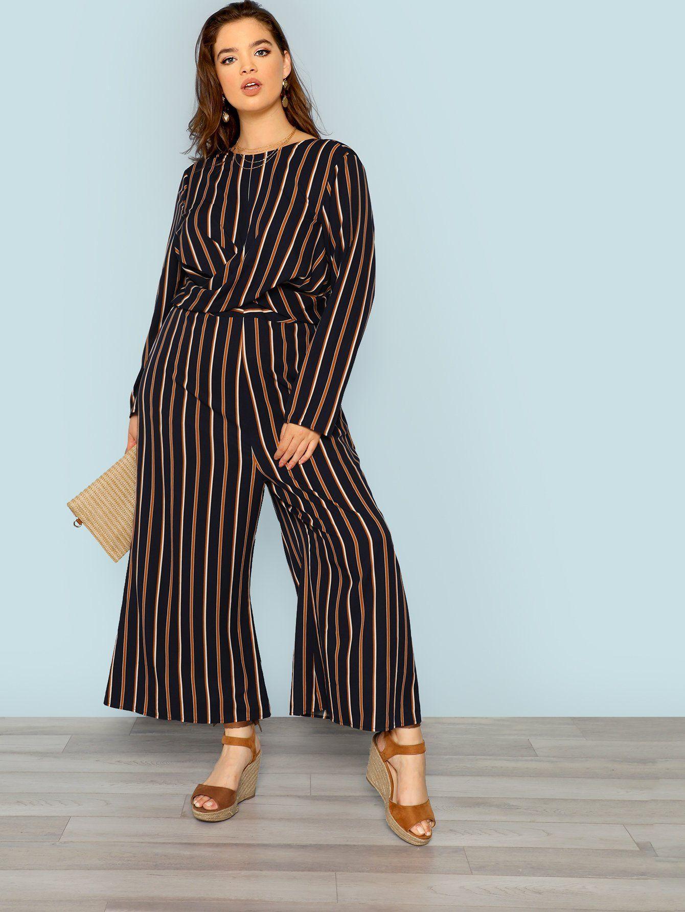 Plus Size Cross Wrap Front Striped Jumpsuit Multi Sizes FREE SHIP ... d755a7f76d29