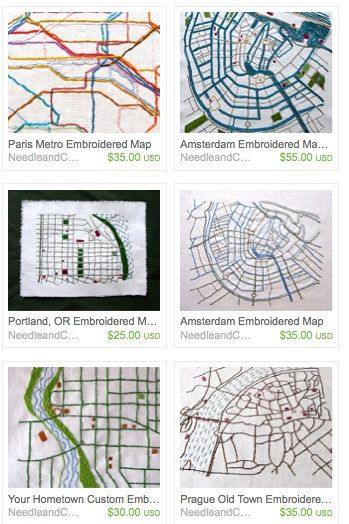 Embroidered Portland Bridges Map Needle And Compass Art Quilt