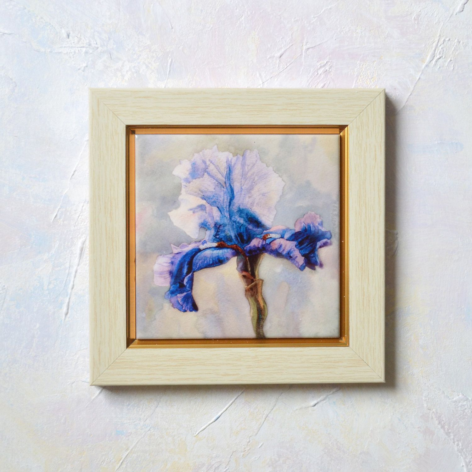 Blue iris hand painted ceramic tile wall art painting watercolor blue iris hand painted ceramic tile wall art painting watercolor home decor blue flower painting flower dailygadgetfo Images