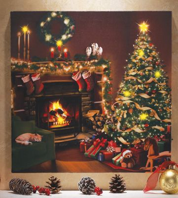 flickering led lighted christmas eve canvas wall art oh what a picture oh how i wish. Black Bedroom Furniture Sets. Home Design Ideas