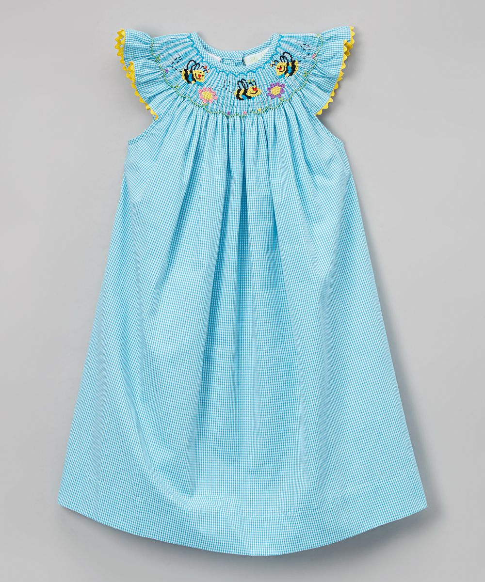 3b87bbb58bf Another great find on Turquoise Gingham Smocked Bee Angel Sleeve Dress -  Infant