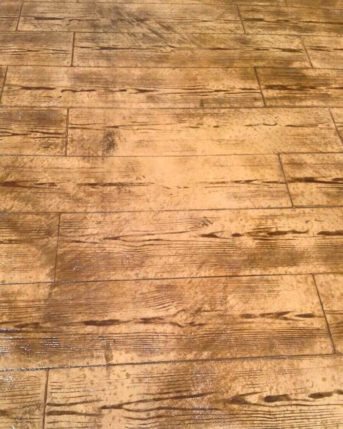 Pavimento de hormig n estampado en textura madera con ankare zaline corcho envejecida hormig n - Pavimento de corcho ...