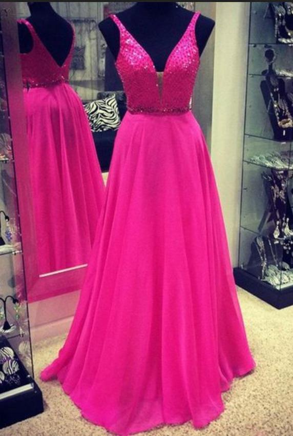 5318f1cb27c Gorgeous A-line Long Chiffon V-neck Hot Pink Prom  prom  promdress  dress   eveningdress  evening  fashion  love  shopping  art  dress  women  mermaid   SEXY ...