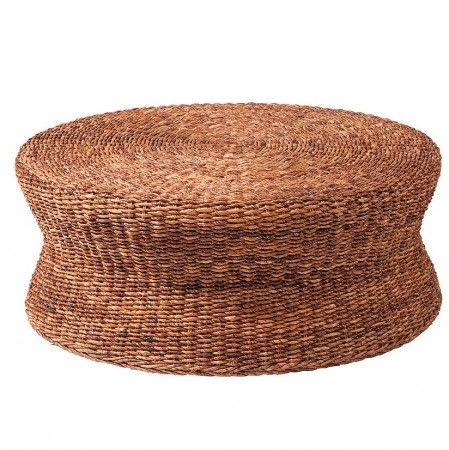 Lanai Woven Round Coffee Table Ottoman | Mimbre