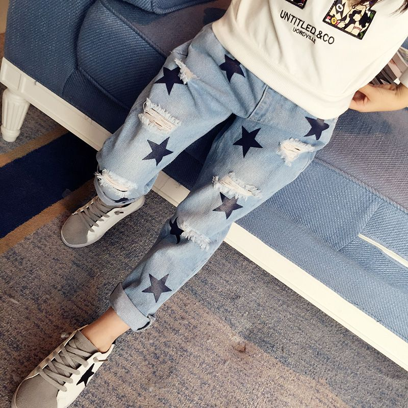 499e04e0eab Cheap girls rip, Buy Quality girls ripped jeans directly from China jeans  pants for girls Suppliers: Girls Ripped Jeans Elastic Waist Denim Pants For  Girls ...