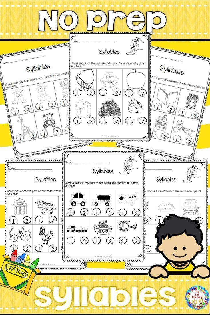 Welcome your PK and Kindergarten students back to school with these no prep fun syllable worksheets. Students look at the pictures on each page, listen for and count the syllables. They color the pictures and mark the correct number of syllables. Use the information gathered from their responses to guide your phonological awareness activities in small group.
