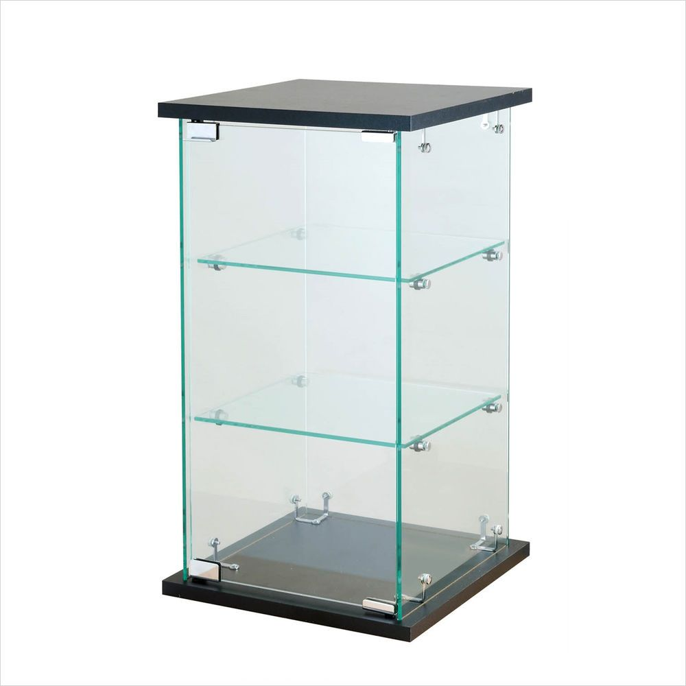Table top display case - Black Tower Glass Display Case Counter Top Showcase Fixture W Lock 24 H X 13