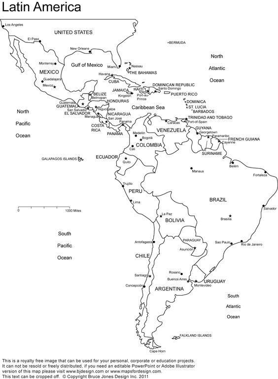 Latin America printable, blank map, south america, brazil
