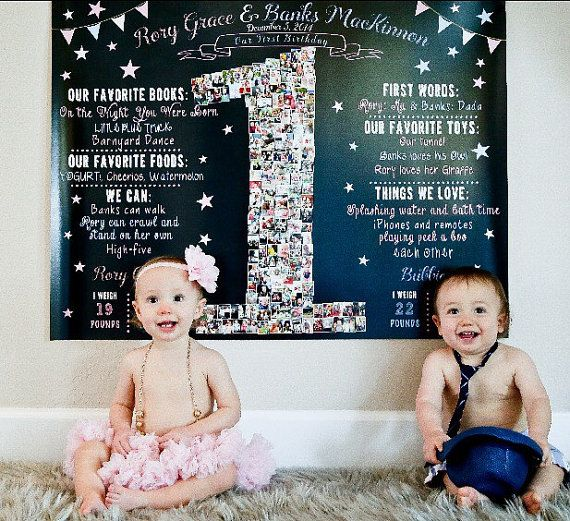 Boy girl TWINS Bows and Bowties Birthday Chalkboard Sign One