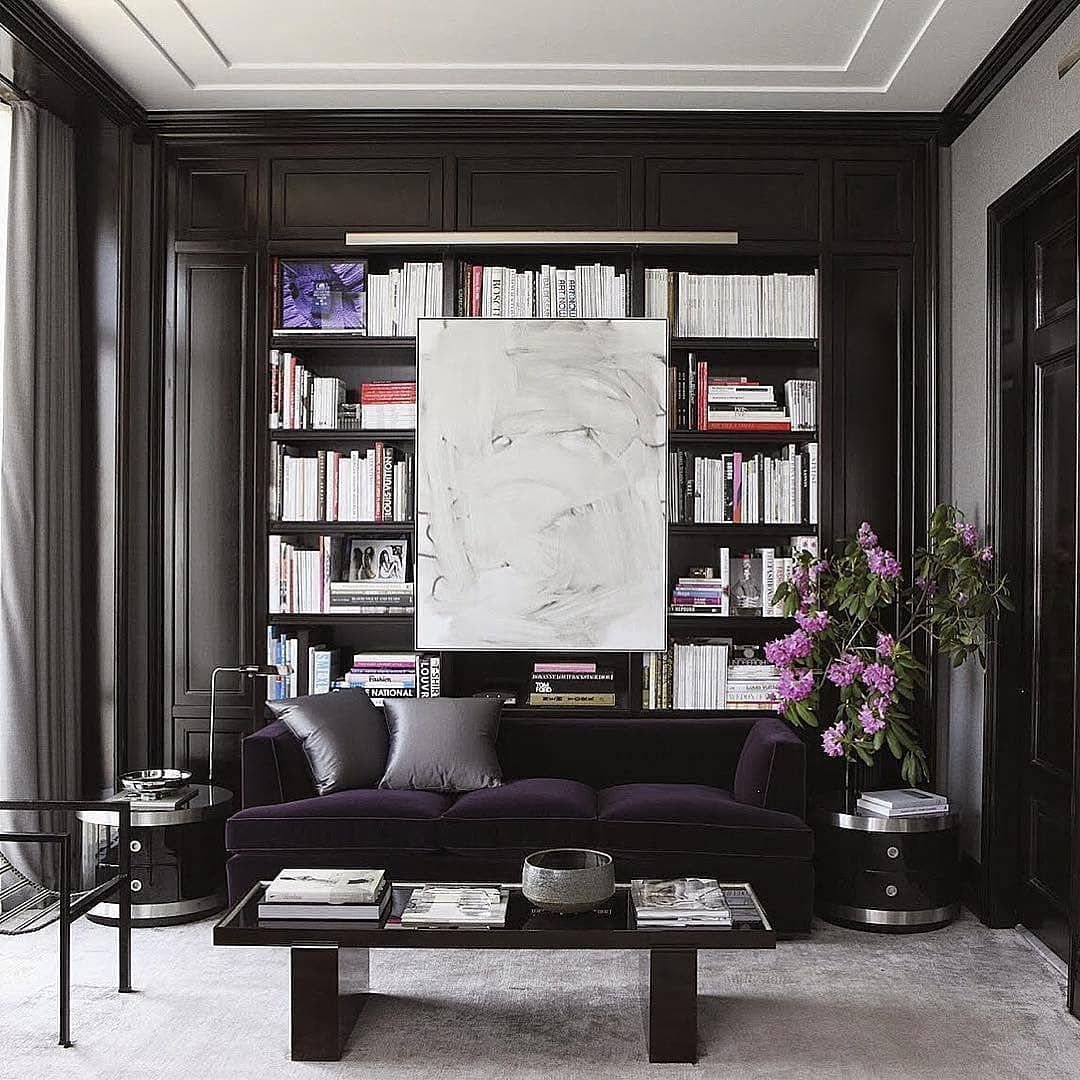 Courtney Schrank On Instagram Bookworm Carefully Curated Built Ins With Black Paneled Walls And Super Unique Art Placement Black Rooms House Interior