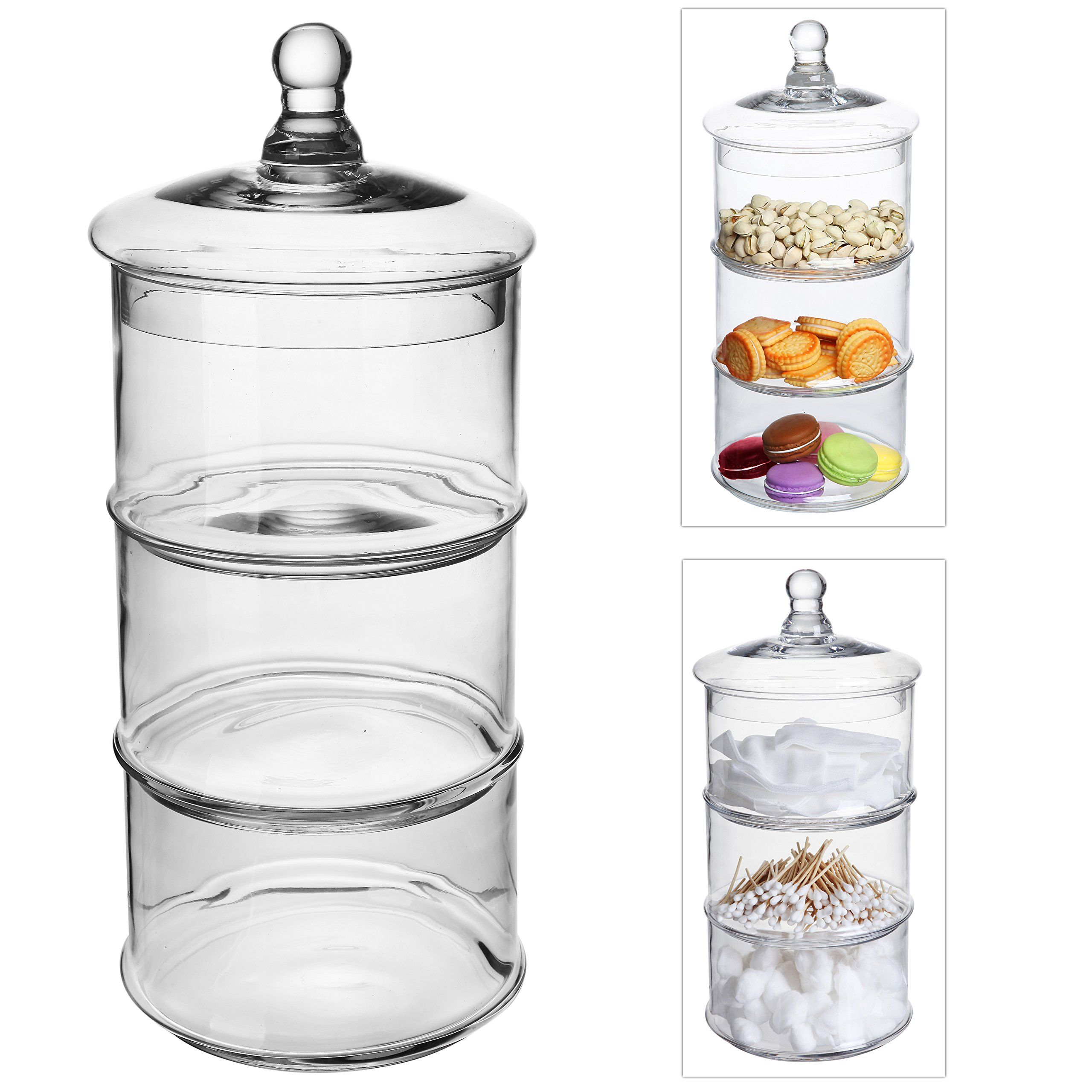 Amazon Com Decorative Lidded Large 3 Tier Stackable Clear Glass Candy Dishes Cookie Holder Apothecary Jars Mygift Jar Kitchen Jars Apothecary Jars