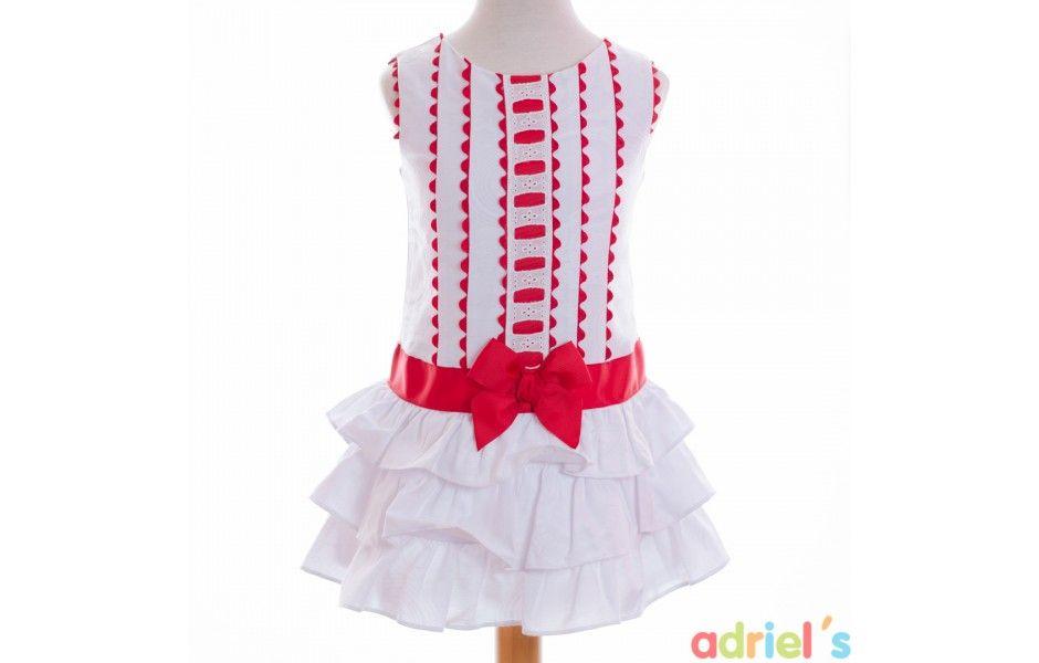 Vestido blanco y rojo para niña de Dolce Petit - adrielsmoda.es