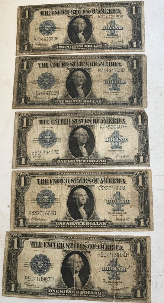 5 Large Size Notes One Dollar Silver Certificates United States
