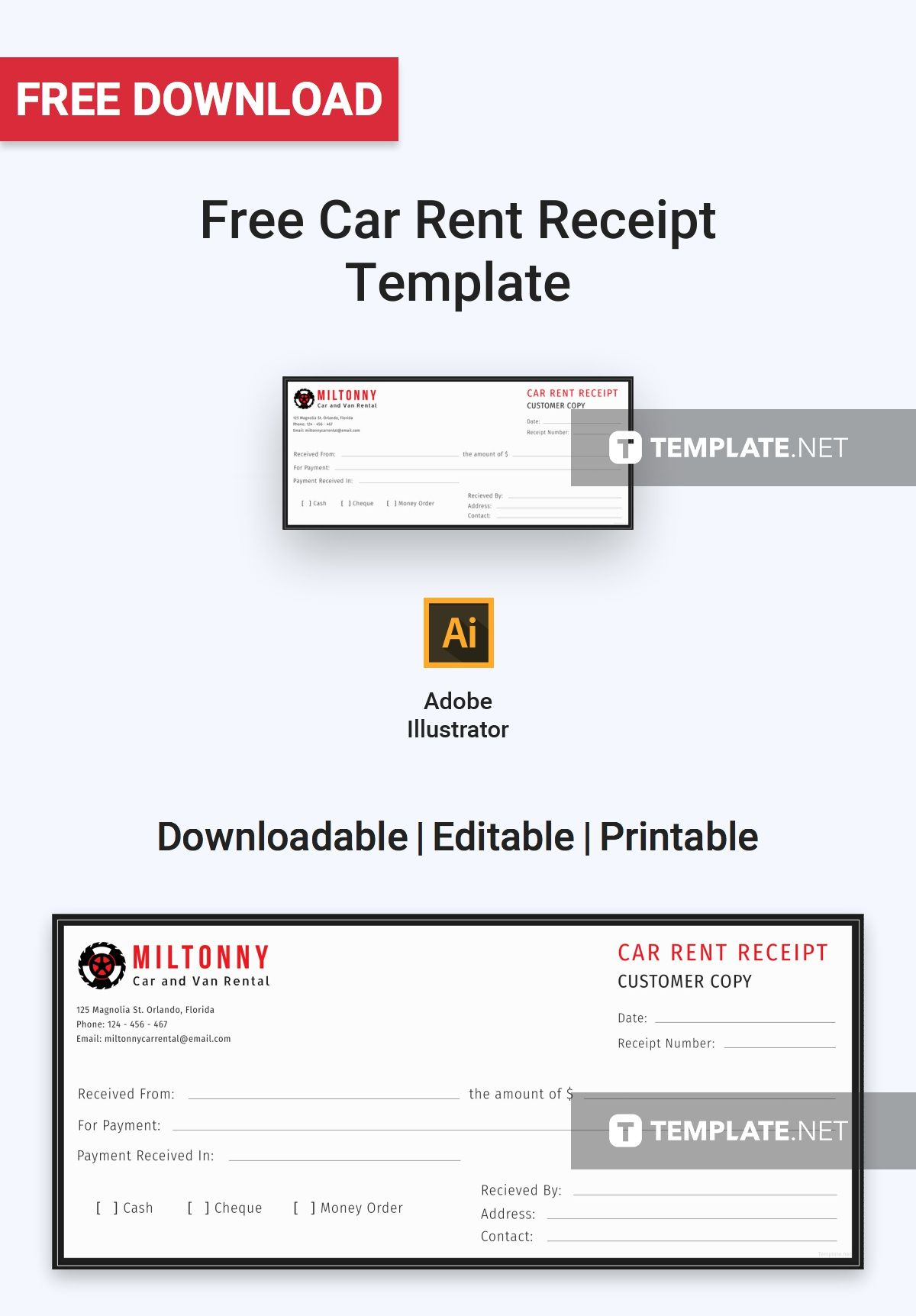 Car Rent Receipt Template Free Pdf Word Excel Apple Pages Illustrator Apple Numbers Receipt Template Free Receipt Template Rent A Car