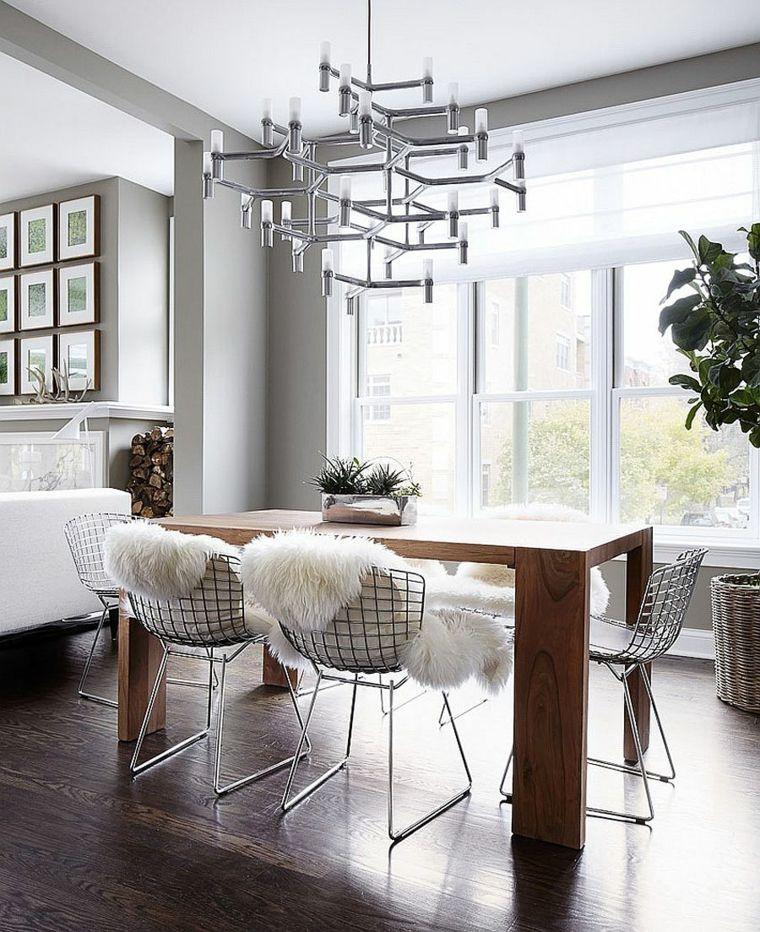mesa de madera grande en el comedor minimalista | DECORACION ...
