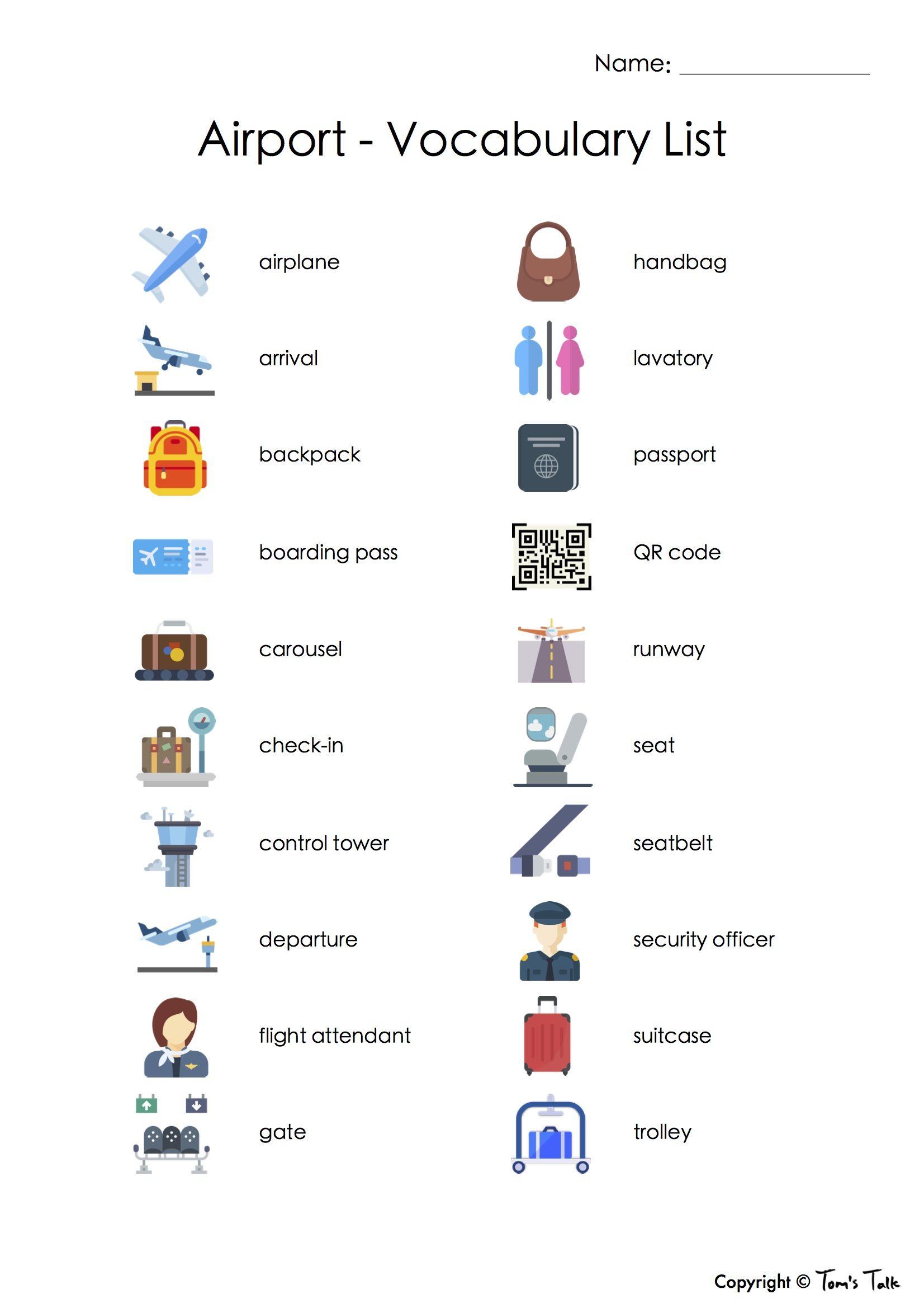 Vocab Fun! Airport Flash Cards, Vocabulary List + Test