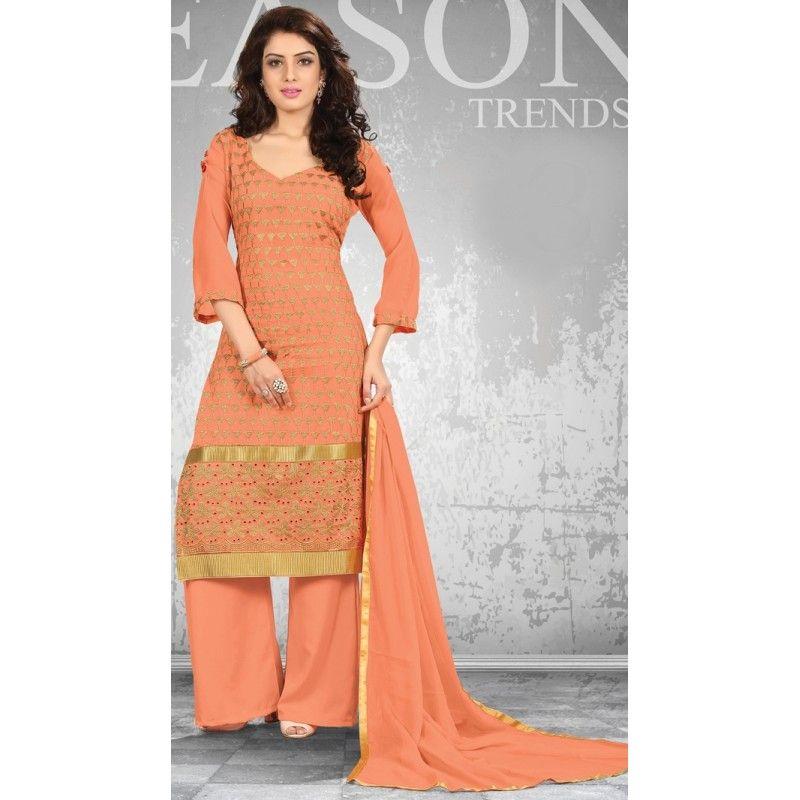New Orange Palazzo Style Designer Unstitched Salwar Suit-FA269-8(FFH-FA269)