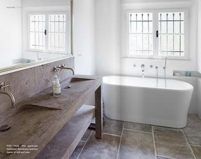 Concrete sinks. shallow but wide. wall mount faucet. freestanding ...