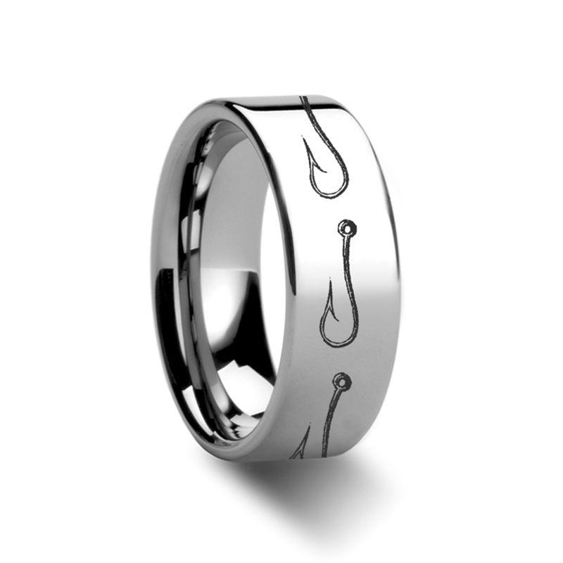 Simple Artistic Fishing Hook Pattern Ring Engraved Flat Tungsten