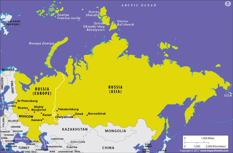 Is Russia in Europe or in Asia Geography map Russia and Asia