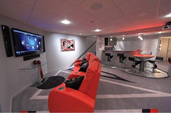 Ultimate Basement Game Room This Viewing Area Features A 60 Inch Sony Tv Flanked By Definitive Technolo Game Room Basement Video Game Rooms Game Room Decor