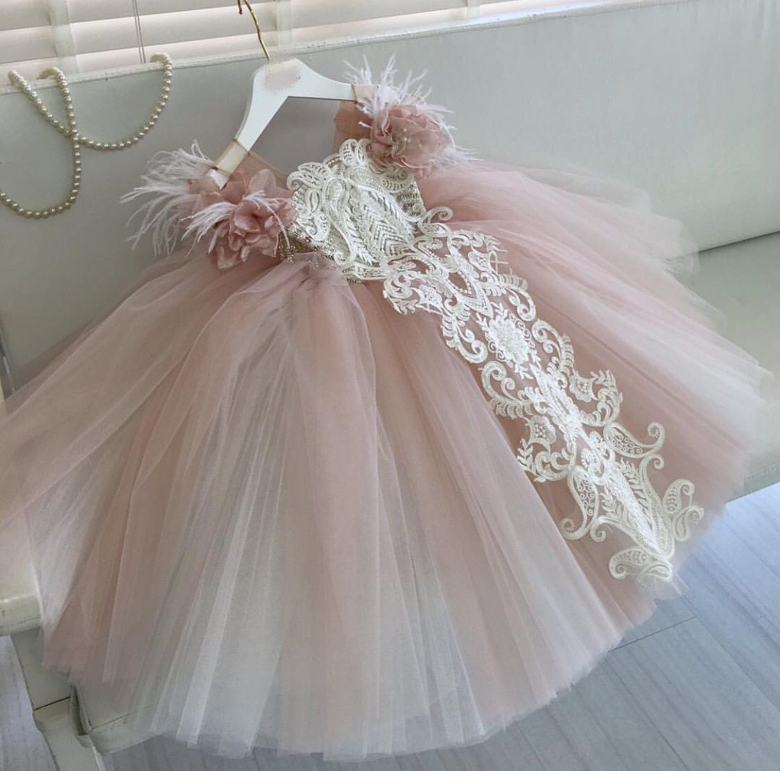 Blush Embroidered Kids Couture Luxury Gown Vestidos Infantis