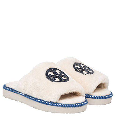 85b48a28363 Tory Burch Shearling Logo Slide Slippers Natural Bright N…